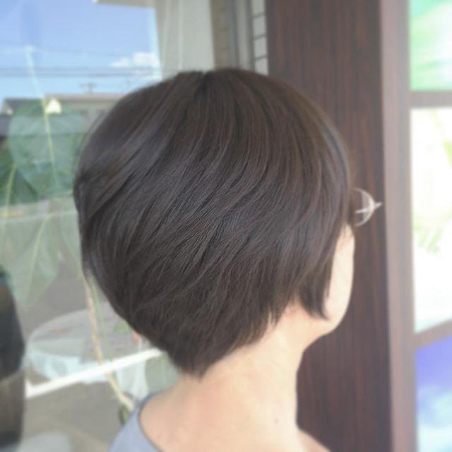 襟足スッキリショートです!後頭部をふっくらさせて、メリハリを出しました☆イマジンおすすめカラーのプラチナで赤味を消しています!  #fashion #makeup #hairstyle #haircolor #imagine #美容室イマジン #koriyama #郡山美容室 #ショート#ショートボブ #ボブ #外国人風カラー#hairstyle #大人ヘアー #大人かわいい