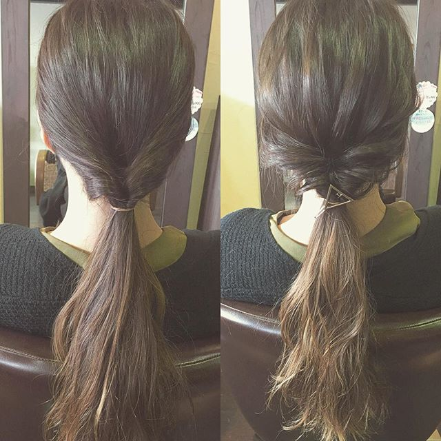 簡単セルフアレンジです︎ 定番のくるりんぱですが、『結び目や後頭部の髪を引き出して崩す』という一手間を加えるだけで、ラフな質感が出てより今年っぽいアレンジになりますよ☆ポイントは、細い毛束でまんべんなく引き出す事です!太い毛束を引き出してしまうと全体が緩んでしまい、ラフな毛束感が出なくなってしまいます(^^;) 慣れればとっても簡単です♪ぜひチャレンジしてみて下さいね!#hairstyle #hair #makeup #fashion #hairarrange #ヘア #ヘアスタイル #メイク #ファッション #ヘアアレンジ #簡単ヘアアレンジ #セルフアレンジ #くるりんぱ #くるりんぱアレンジ #ロング #ミディアム #ボブ #福島 #郡山 #富久山 #美容室イマジン #イマジンヘアー
