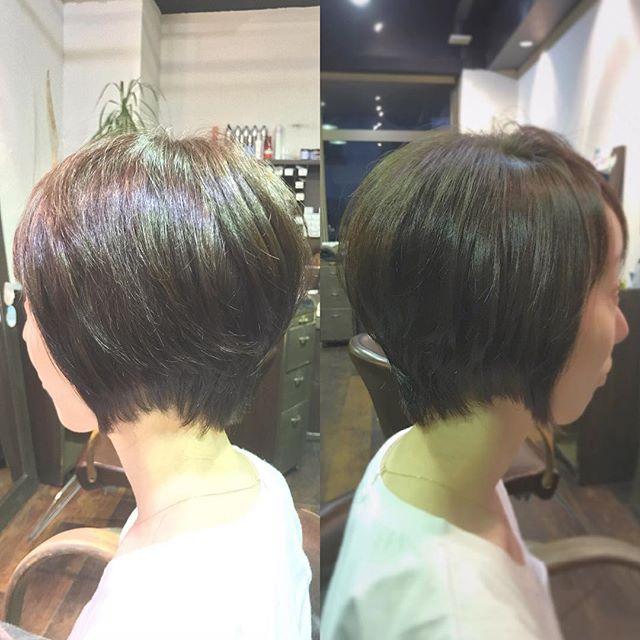 後頭部をふっくらキレイに見せるショートスタイルです︎ベージュとマットをミックスしたカラーで柔らかな雰囲気に☆・絶壁をカバーしたい方や、最近トップがペタンとして、ボリュームが出なくなってきた…という方は、写真のような段差をつけたショートスタイルおすすめですよ☆・髪の悩みなど何でもご相談下さい!・山崎・#hair #hairstyle #makeup #fashion #beauty #shorthair #bob #mediumhair #longhair #ヘア #メイクアップ #ファッション #ビューティー #ショートヘア #ボブ #ミディアムヘア #ロングヘア #throw #throwカラー #絶壁カバー #大人ヘア #大人ショート #夏ヘア #福島県 #郡山市 #郡山美容室 #富久山 #美容室イマジン #イマジンヘアー